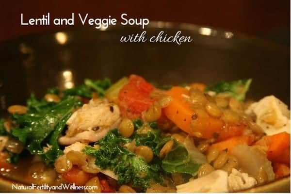 Simple lentil and veggie soup with chicken