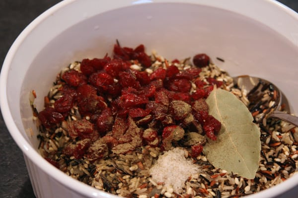 wild rice pilaf ingredients in bowl