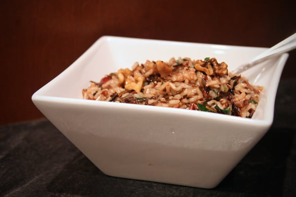 wild rice pilaf in white bowl