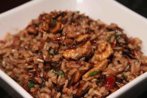 cooked wild rice pilaf closeup