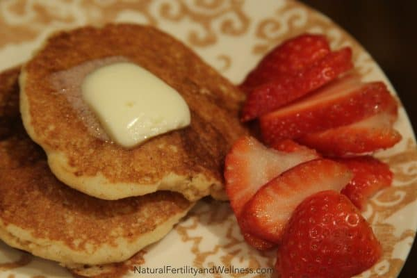 gluten free pancakes and strawberries