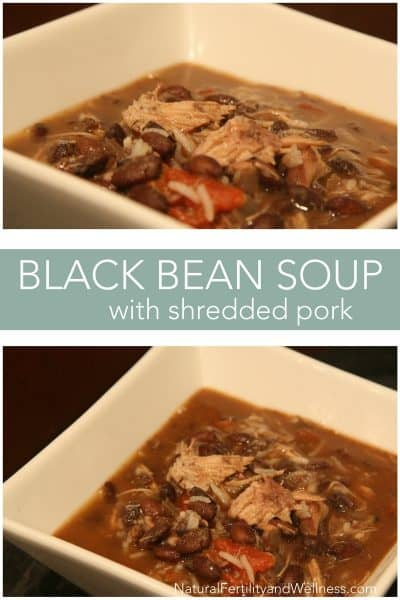 black bean soup with shredded pork