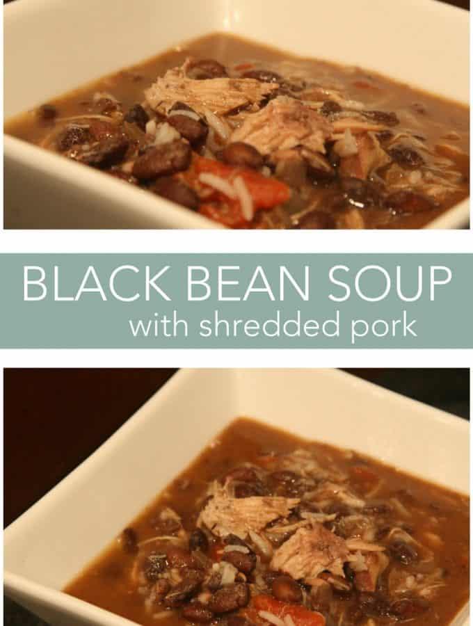 black bean soup with shredded pork