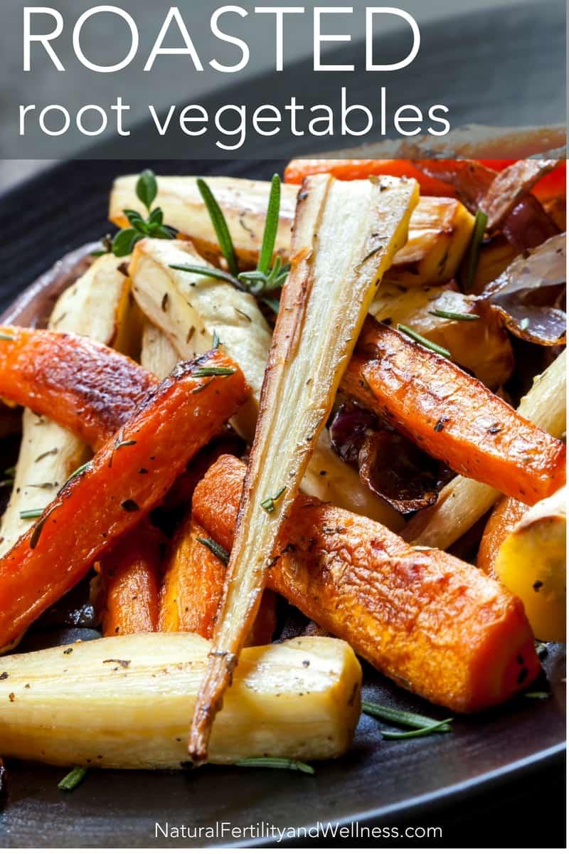 Roasted root vegetables in pan