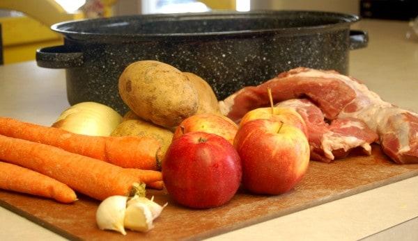 carrots, apples, potatoes, pork tenderloin