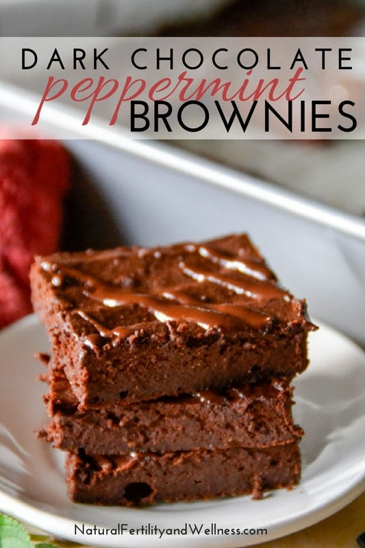 Fudgy Dark Chocolate Peppermint Brownies